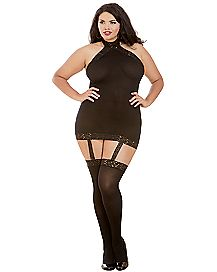 Plus Size Sheer Dress with Thigh High Stockings