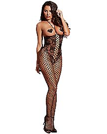 Open Cup Lace Fishnet Bodystocking