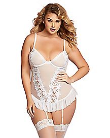 Plus Size White Ruffle Bustier and Thong Set