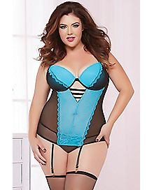 Plus Size Pop of Love Bustier and Thong Panties Set