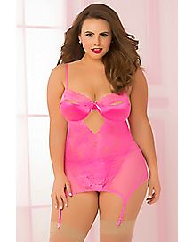 Plus Size Endless Love Split Cup Chemise and Thong Panties Set