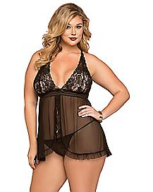 Plus Size Secret Affair Babydoll and Thong Panties Set - Black