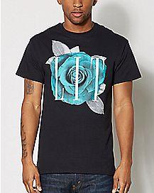 Lit Teal Rose T Shirt