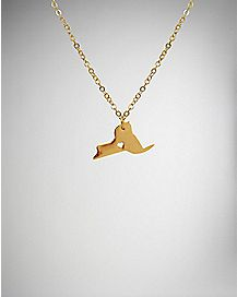 Gold-Plated Heart New York Necklace
