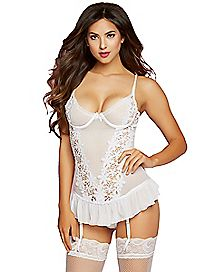 Floral Lace Bustier and Thong Panties Set