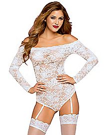 White Long Sleeve Lace Teddy