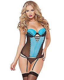 Pop of Love Bustier and Thong Panties Set