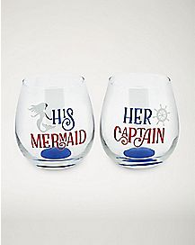 Sea Couple Stemless Wine Glass 2 Pack - 16 oz.