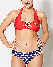 Lace Up Wonder Woman Halter Bikini Swimsuit - DC Comics