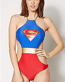 High Neck Superman Monokini Swimsuit - DC Comics