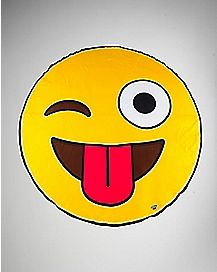 Tongue Smiley Face Beach Towel