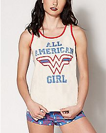Ultra Soft Retro Wonder Woman Tank Short Set