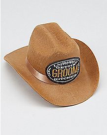 Groom Getting Hitched Mini Clip-On Cowboy Hat