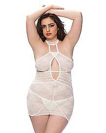 Plus Size Floral Lace Babydoll and G-String Panties Set