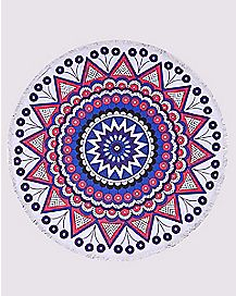 Round Tribal Flower Festival Blanket