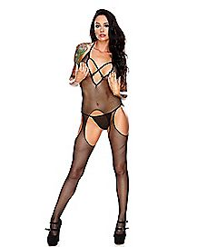 Hustler Criss Cross Crotchless Bodystocking and Panties Set