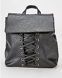 Black Lace Up Mini Backpack