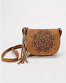 Cognac Floral Crossbody Bag
