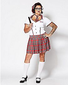 Plus Size Sexy School Girl Dress Set