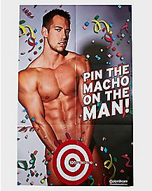 Pin The Macho On The Man Poster Game