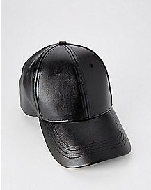 Black Faux Leather Dad Hat