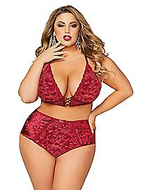 Plus Size Crushed Velvet Bra and Panties Set