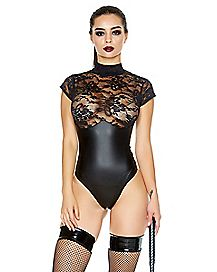 See Through Lace Contrast Bodysuit