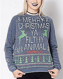 Merry Christmas Ya Filthy Animal Ugly Christmas Sweater - Home Alone