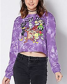 Tie Dye Cropped Character Long Sleeve Shirt- Looney Tunes