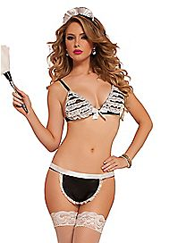 Sexy French Maid Bra and Panties Set
