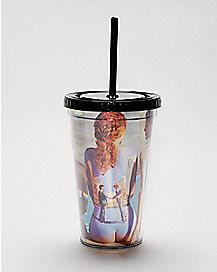 Back Body Paint Pink Floyd Cup With Straw - 16 oz.