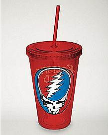 Steal Your Face Grateful Dead Cup With Straw - 16 oz.