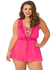 Plus Size Lace Up Babydoll and Thong Panties Set