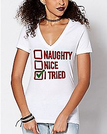 Naughty Nice I Tried Christmas T Shirt