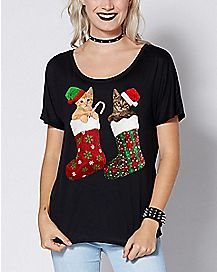 Stocking Kittens Christmas T Shirt