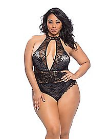 Plus Size Collared Lace Overlay Teddy