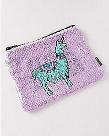 Llama Drama Magic Sequin Pouch Wallet