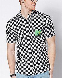 Checkered MTV Button Down Shirt