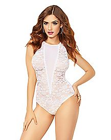 White Mesh Lace Open Back Teddy
