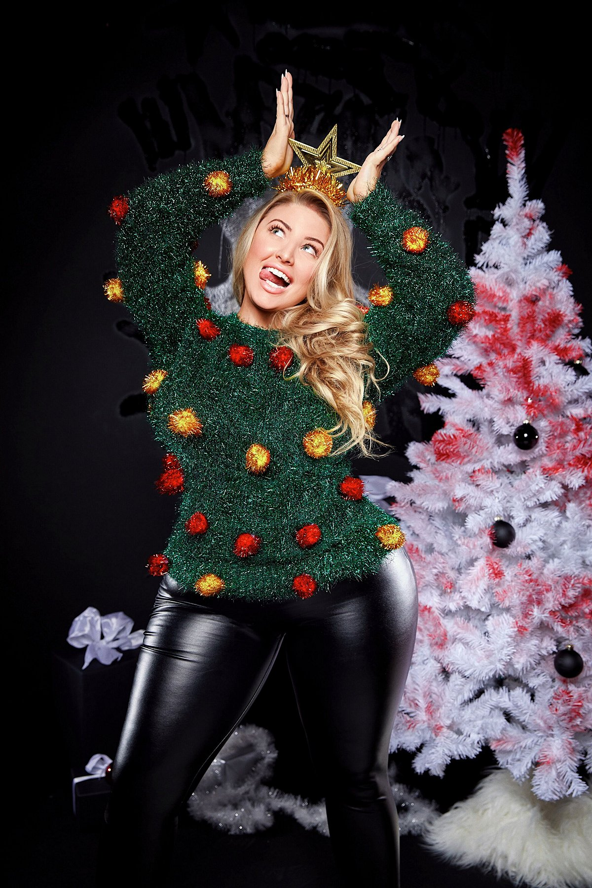 Tinsel Christmas Tree Ashley Alexiss Ugly Christmas Sweater