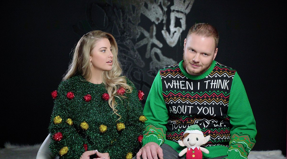 Tinsel Christmas Tree Ashley Alexiss Ugly Christmas Sweater and Husband Travis Yohe