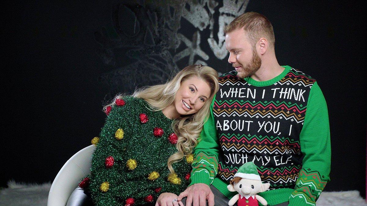 Tinsel Christmas Tree Ashley Alexiss Ugly Christmas Sweater and husband Travis Yohe