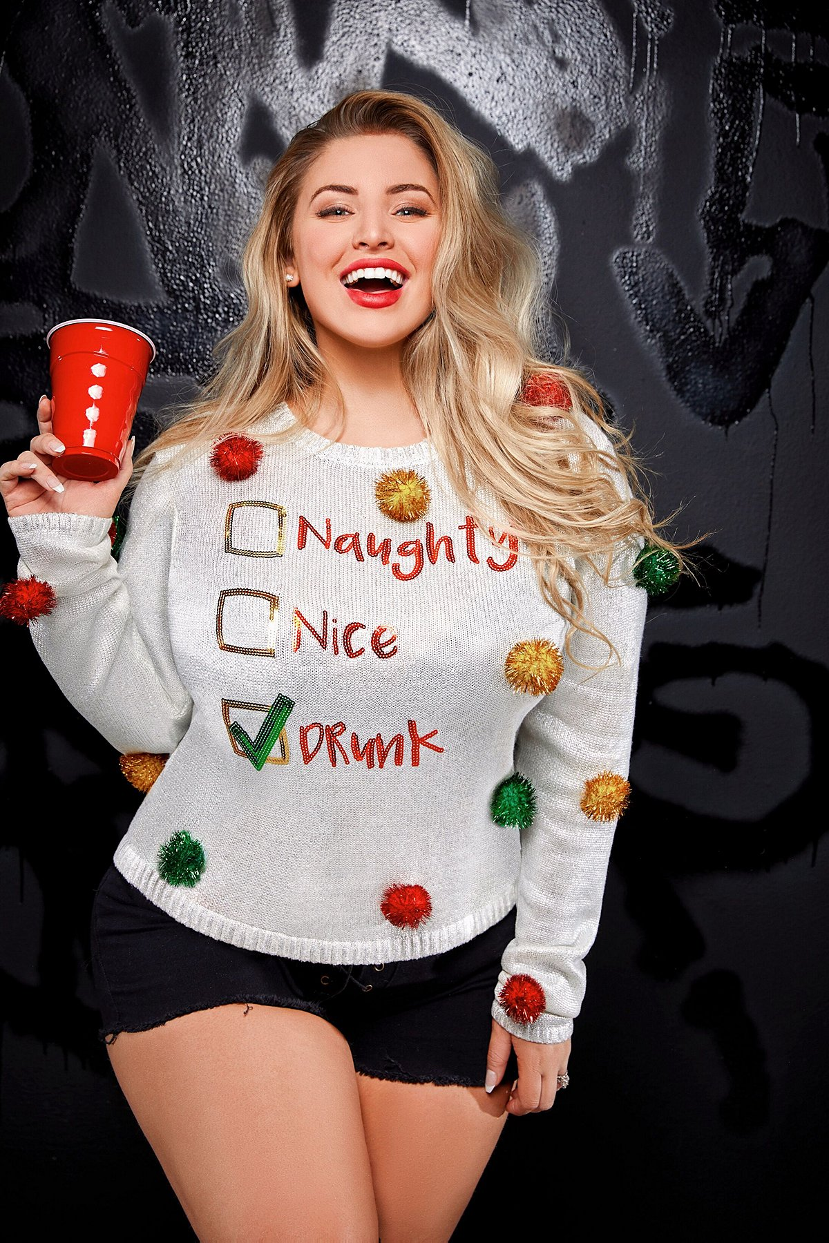 Naughty Nice Drunk Ashley Alexiss Ugly Christmas Sweater