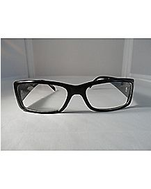 Classy Shiny Black 'Hipster' Clear Glasses