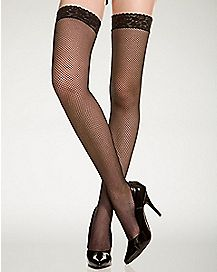 Black Fishnet Thigh High Stockings