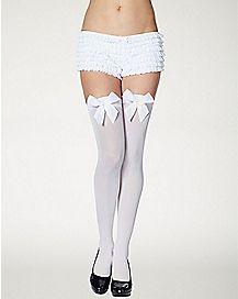 White Bow Thigh High Stockings