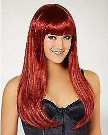 Long Auburn Wig with Bangs