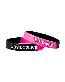 Fuck Cancer Dying To Live  Rubber Bracelet