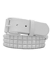 3 Row Stud Belt White