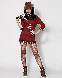 LICENSED FREDDY KRUEGER CORSET DRESS ADULT WOMENS NIGHTMARE HALLOWEEN COSTUME